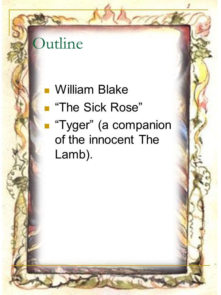 Outline William Blake The Sick Rose
