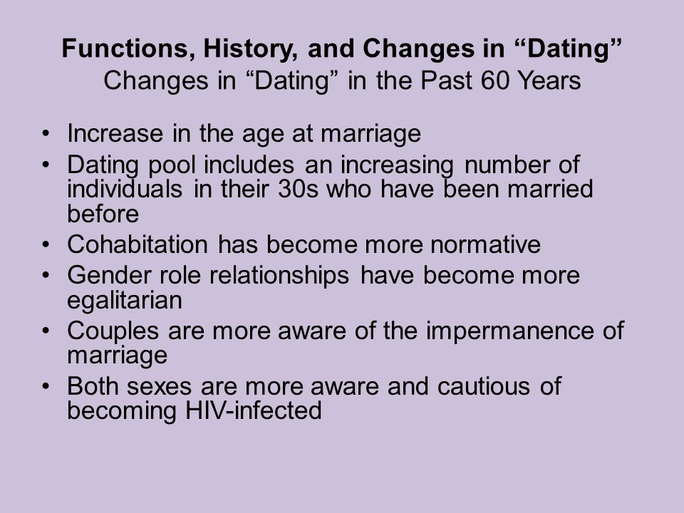 Functions, History, and Changes in Dating Changes in Dating in the Past 60 Years