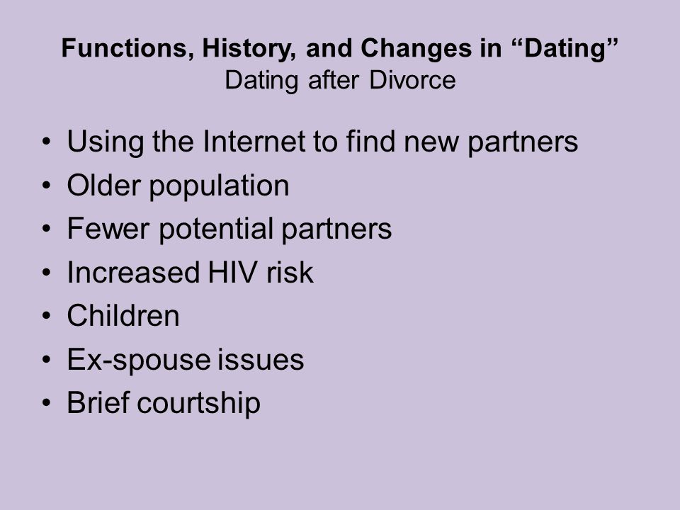 Functions, History, and Changes in Dating Dating after Divorce