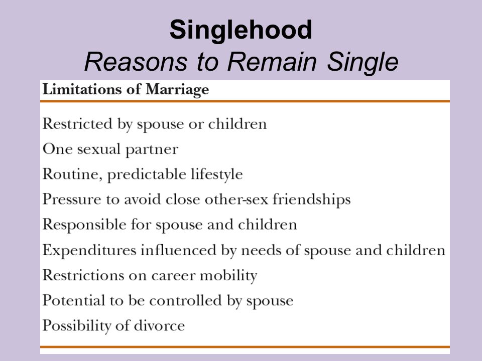 Singlehood Reasons to Remain Single
