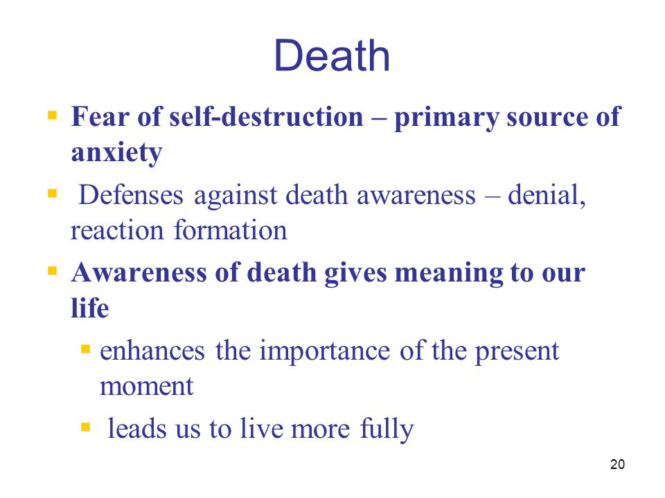 Death Fear of self-destruction – primary source of anxiety