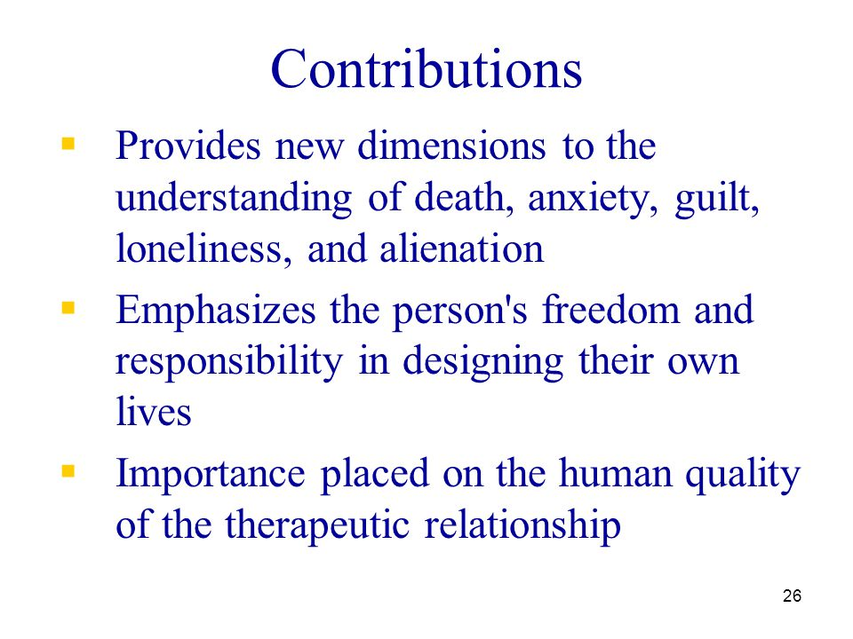 Contributions Provides new dimensions to the understanding of death, anxiety, guilt, loneliness, and alienation.
