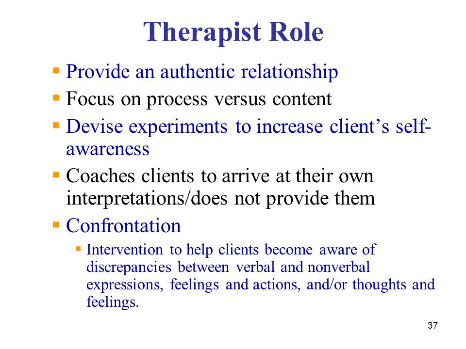 Therapist Role Provide an authentic relationship