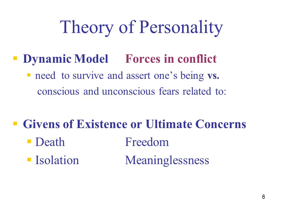 Theory of Personality Dynamic Model Forces in conflict
