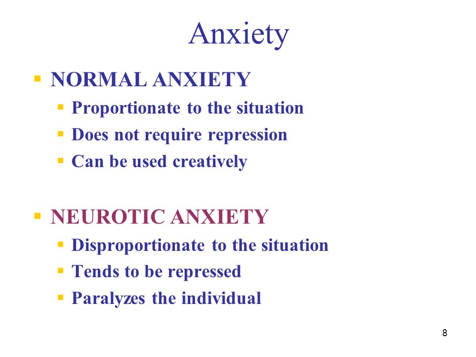 Anxiety NORMAL ANXIETY NEUROTIC ANXIETY Proportionate to the situation
