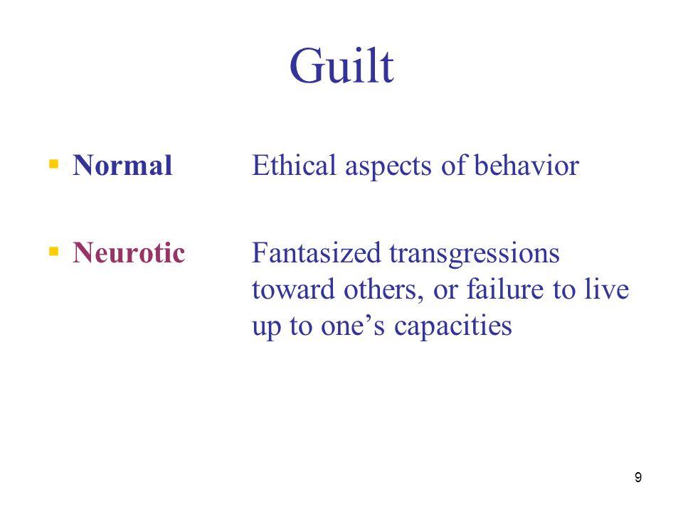 Guilt Normal Ethical aspects of behavior