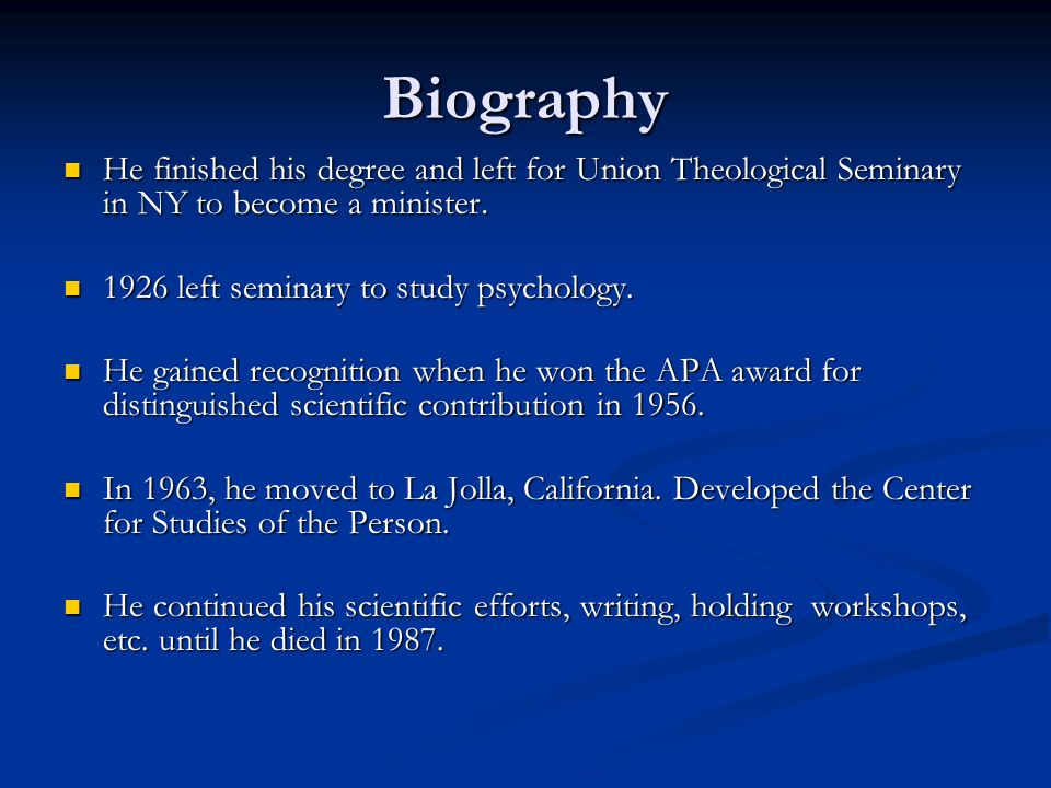 Biography He finished his degree and left for Union Theological Seminary in NY to become a minister.
