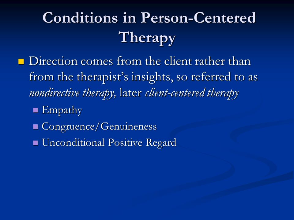 Conditions in Person-Centered Therapy