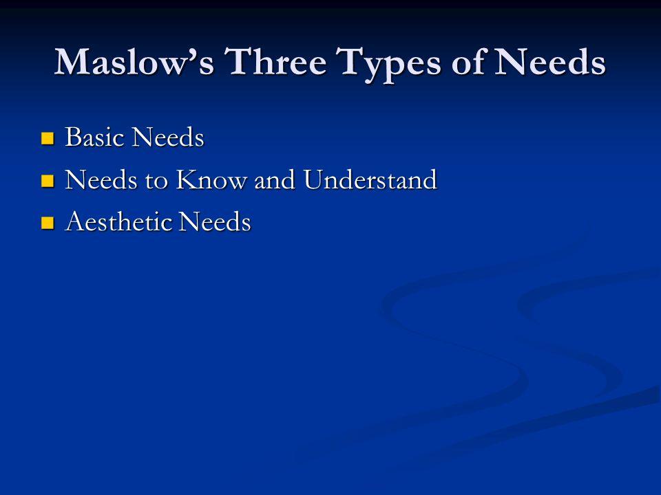 Maslow's Three Types of Needs