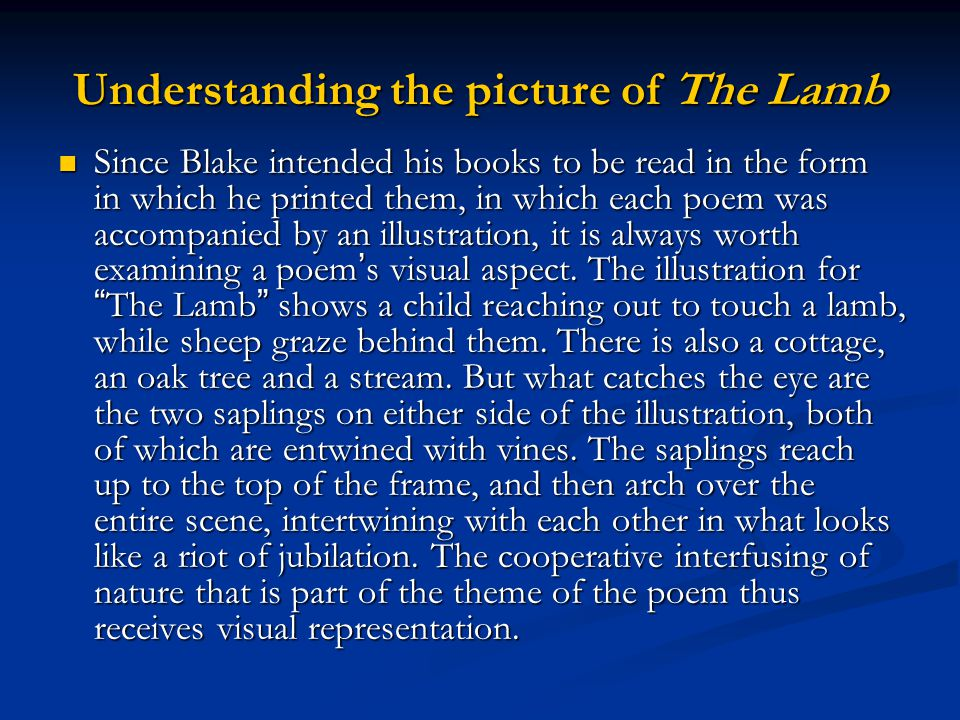 Understanding the picture of The Lamb