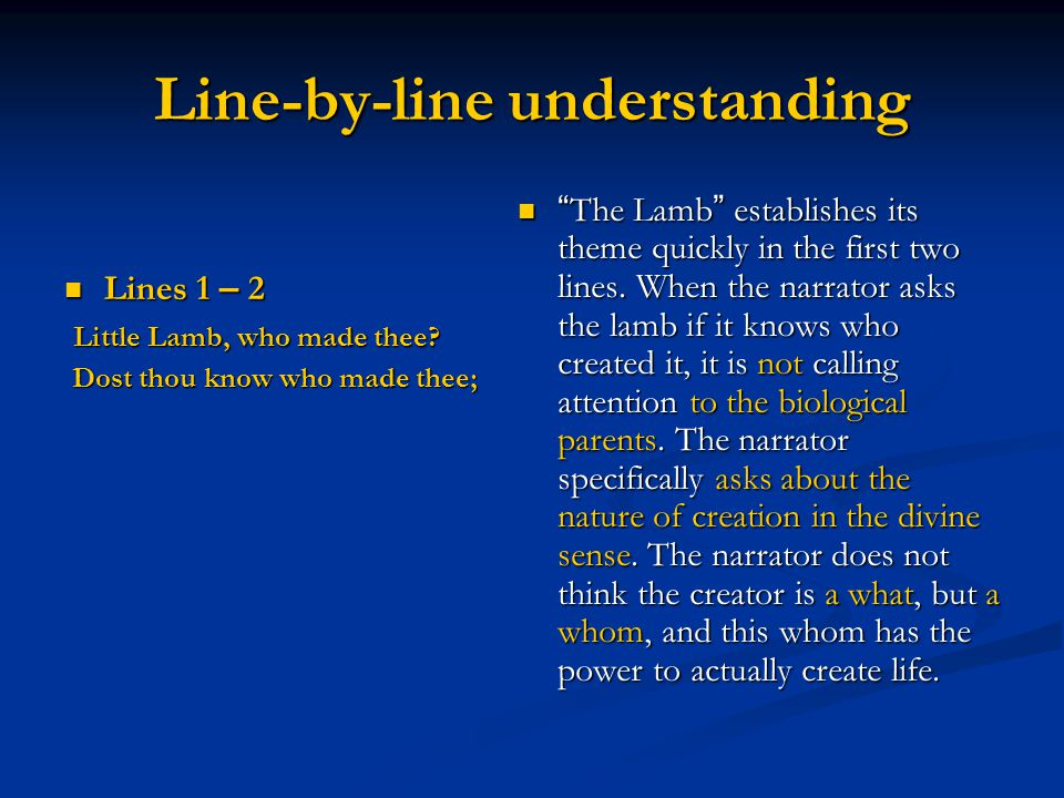 Line-by-line understanding