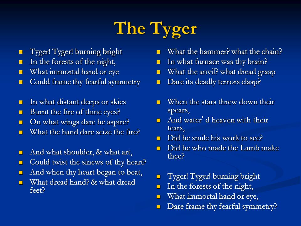 The Tyger Tyger! Tyger! burning bright In the forests of the night,