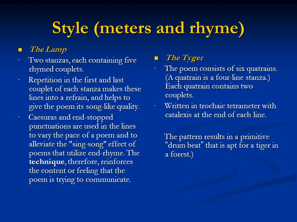 Style (meters and rhyme)