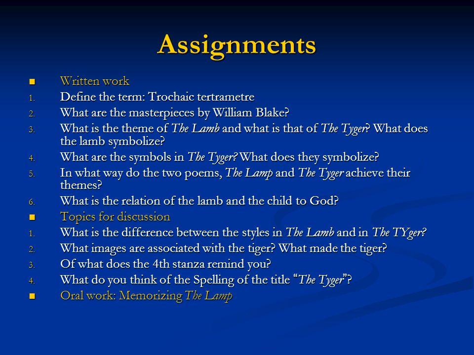 tyger and the lamb essay William blake: the tyger analysis to understand the tiger fully, you need to know blake's symbols - william blake: the tyger essay introduction the title seems to be quite simple it lets us know that the poem is about a tiger.