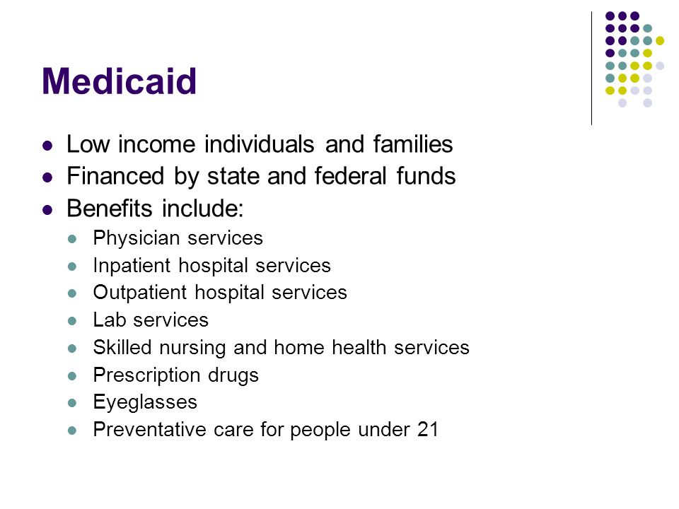 Medicaid Low income individuals and families