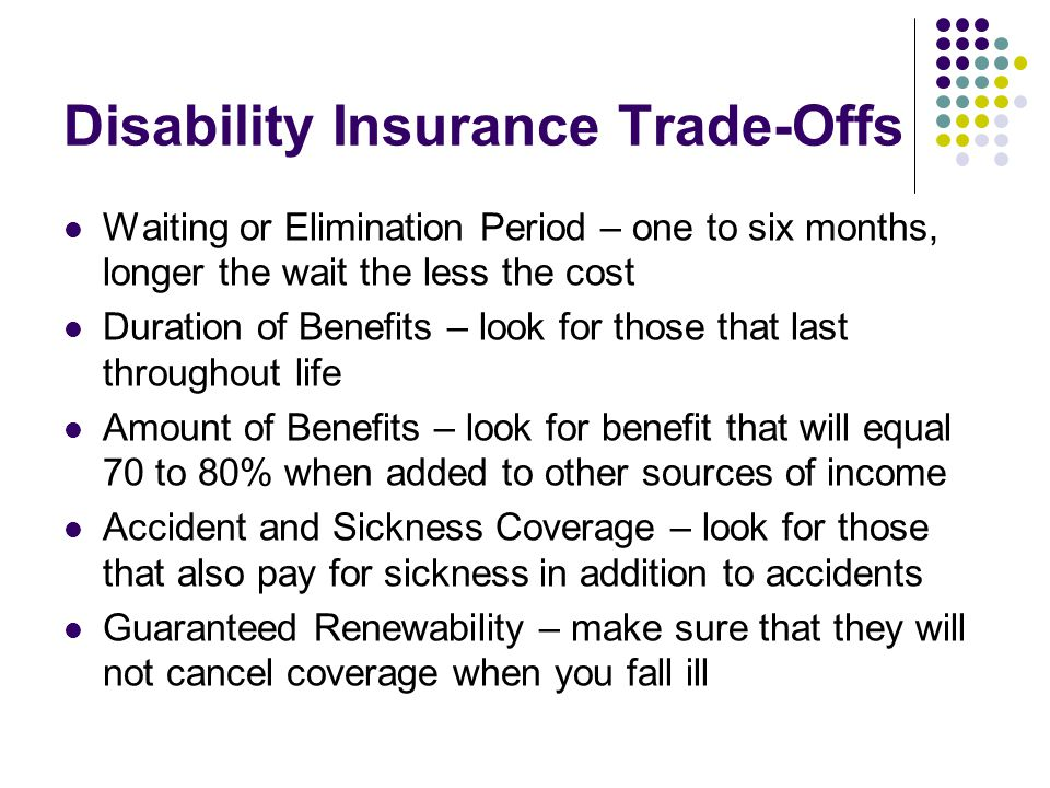 Disability Insurance Trade-Offs