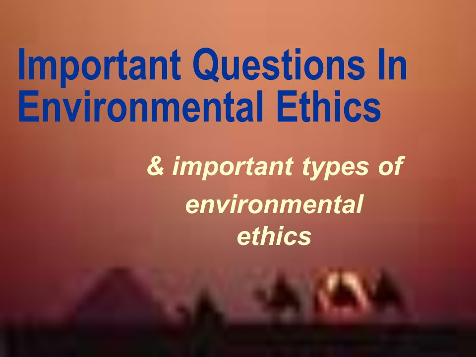 Important Questions In Environmental Ethics
