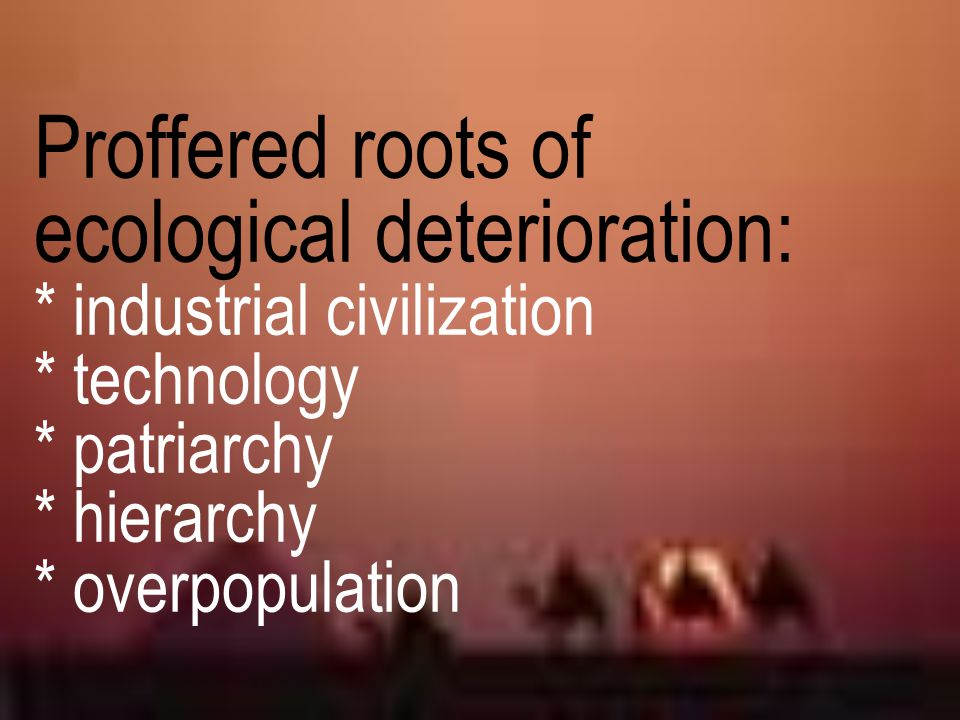Proffered roots of ecological deterioration:. industrial civilization