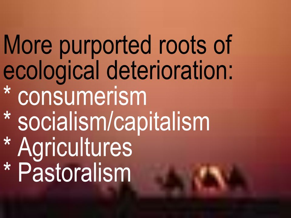 More purported roots of ecological deterioration:. consumerism