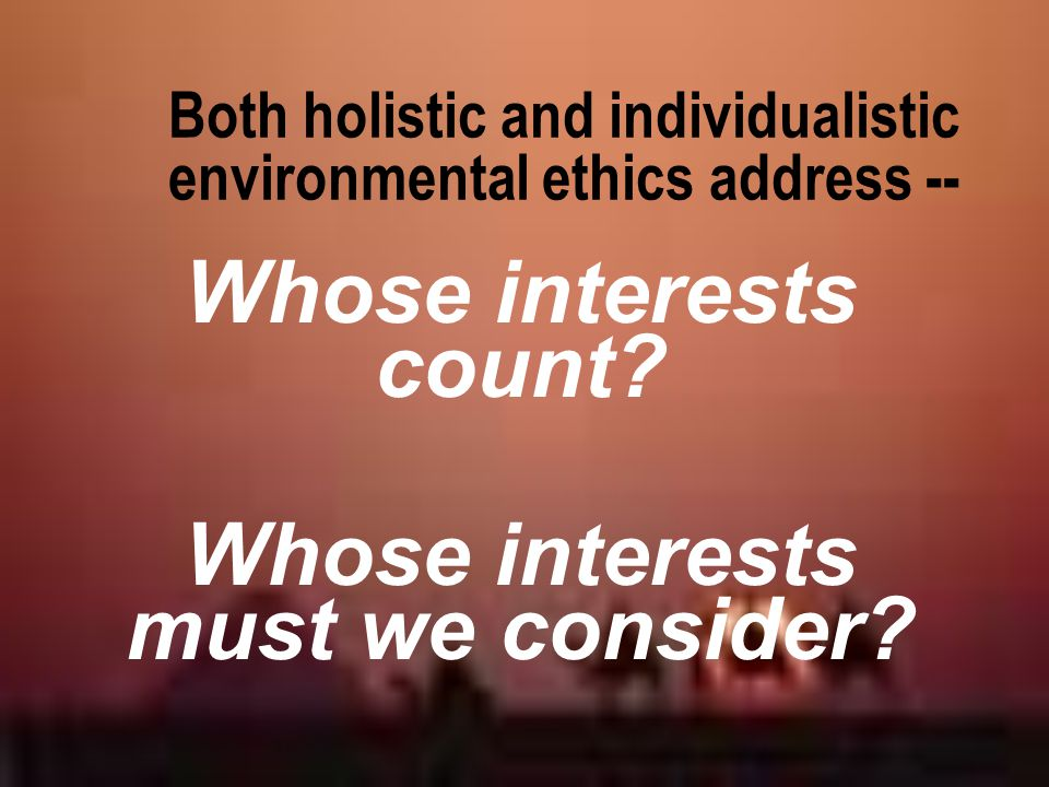 Both holistic and individualistic environmental ethics address --