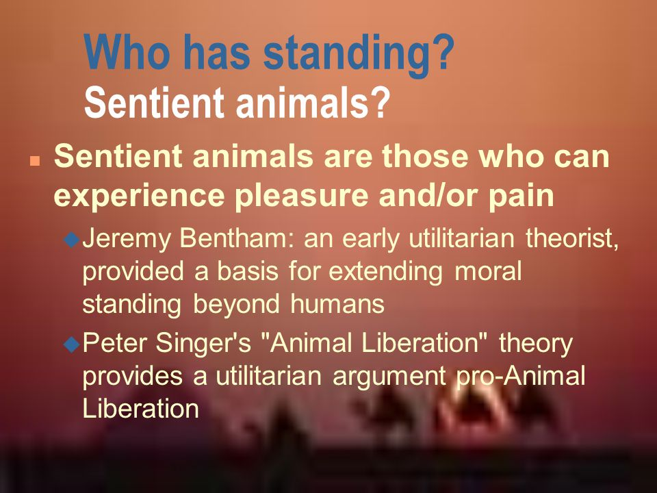 Who has standing Sentient animals