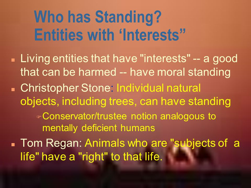 Who has Standing Entities with 'Interests