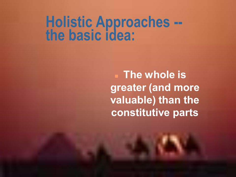 Holistic Approaches -- the basic idea: