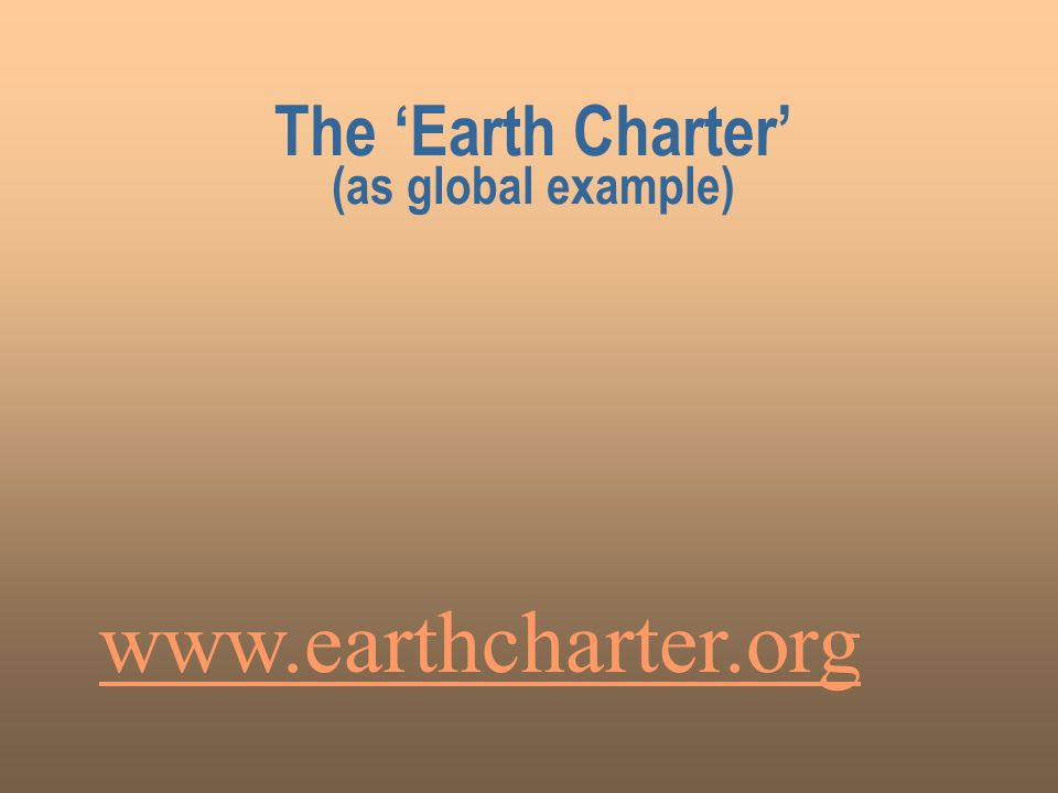 The 'Earth Charter' (as global example)