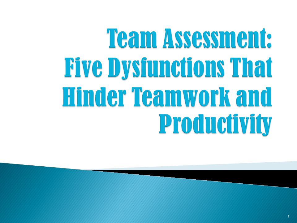 Team Assessment: Five Dysfunctions That Hinder Teamwork and Productivity