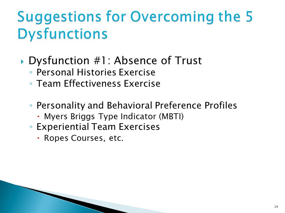 Suggestions for Overcoming the 5 Dysfunctions