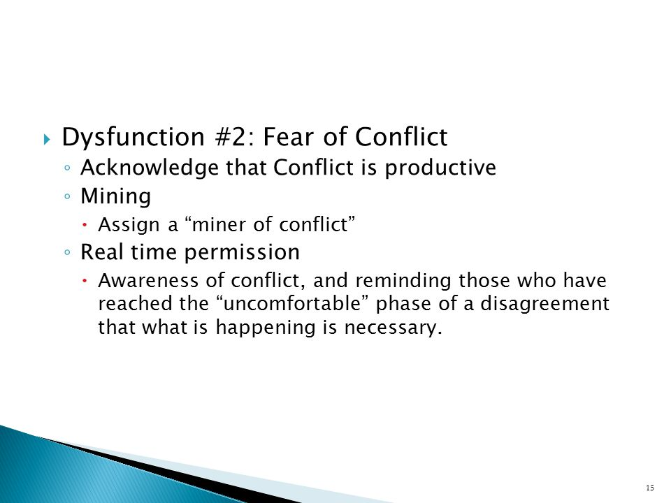Dysfunction #2: Fear of Conflict