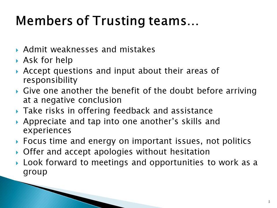 Members of Trusting teams…