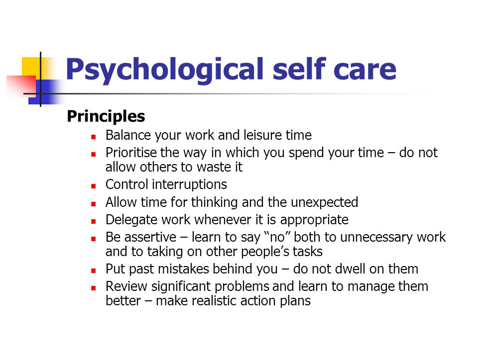 Psychological self care
