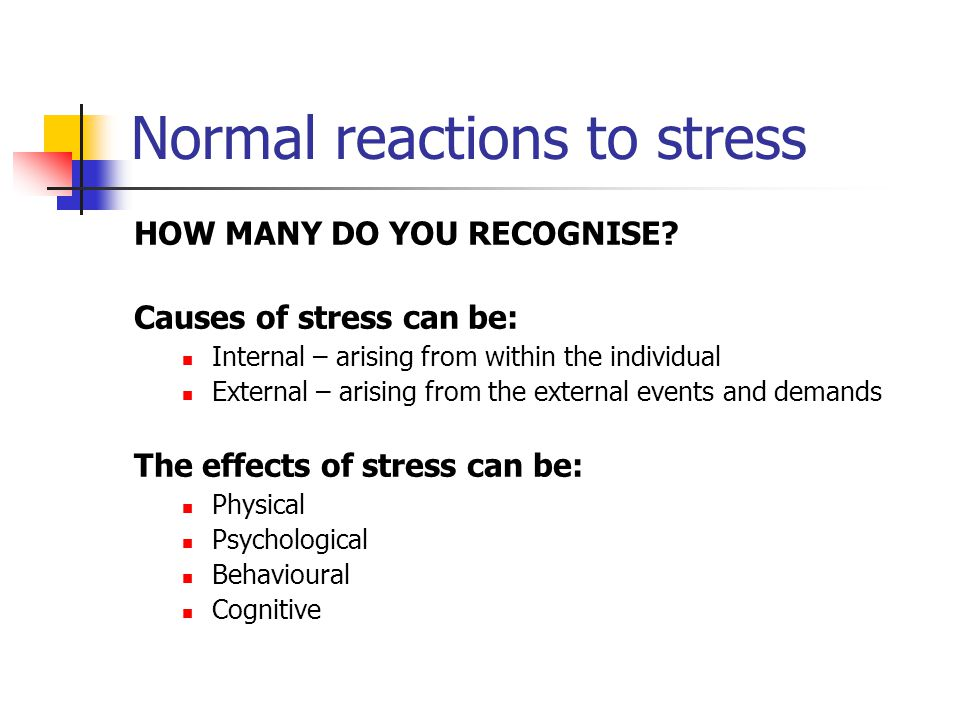 Normal reactions to stress