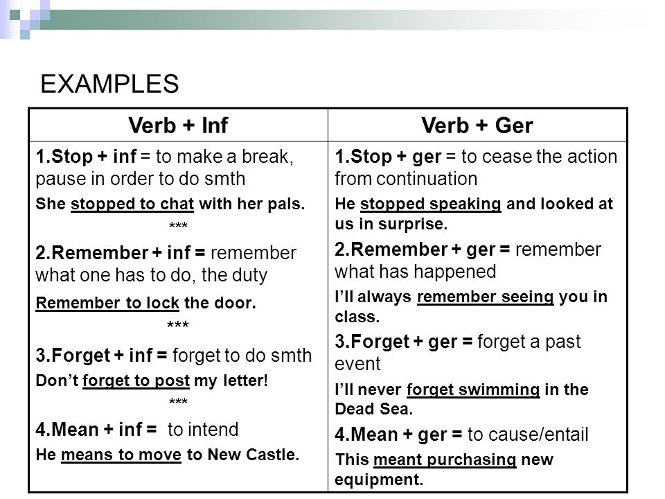 EXAMPLES Verb + Inf Verb + Ger
