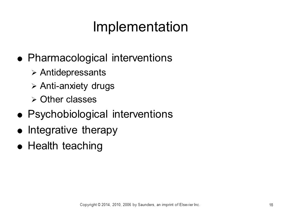 Implementation Pharmacological interventions