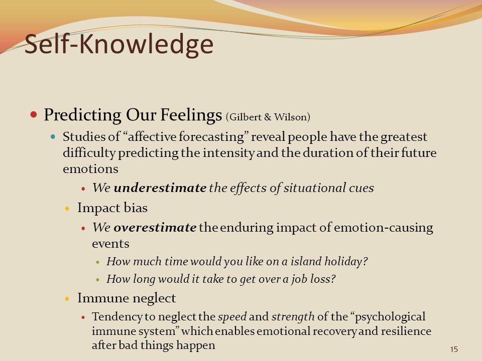 Self-Knowledge Predicting Our Feelings (Gilbert & Wilson) Impact bias