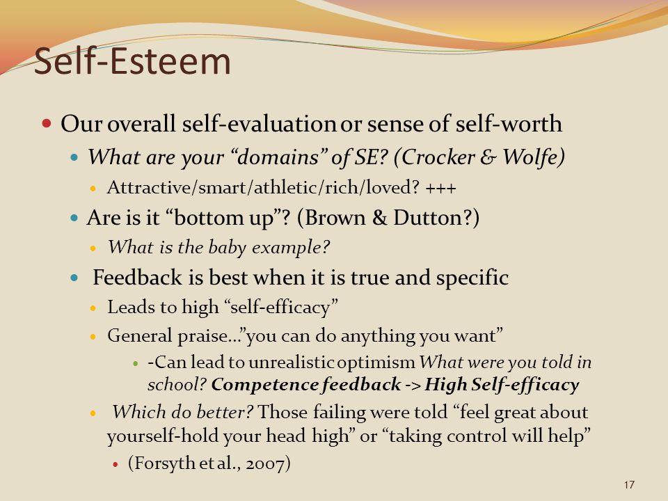 Self-Esteem Our overall self-evaluation or sense of self-worth