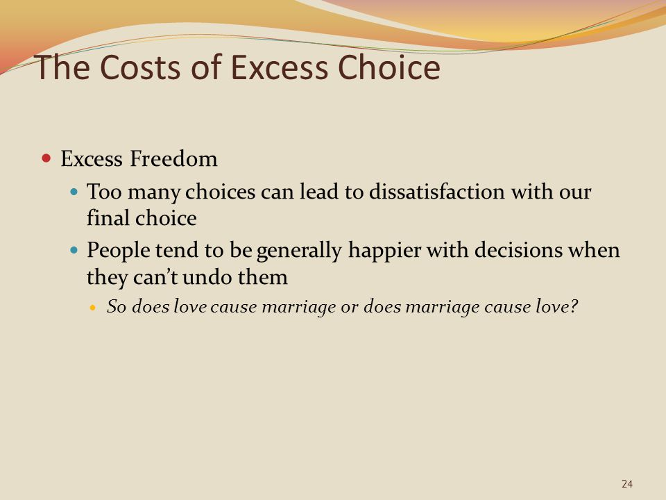 The Costs of Excess Choice