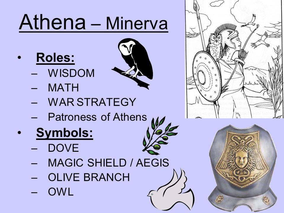 Athena – Minerva Roles: Symbols: WISDOM MATH WAR STRATEGY