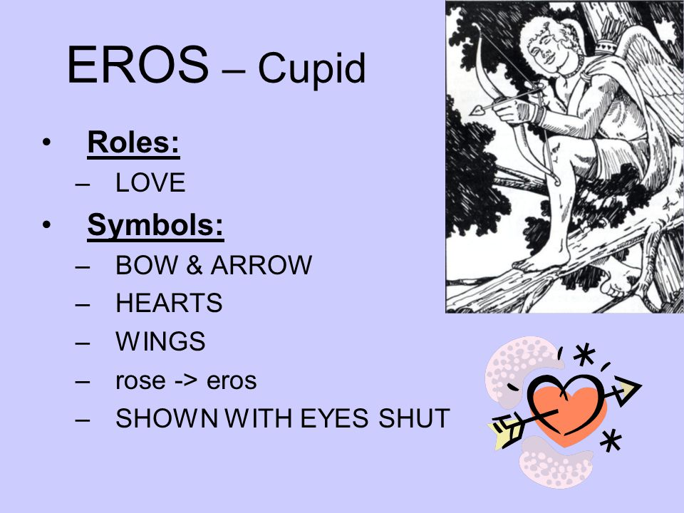 EROS – Cupid Roles: Symbols: LOVE BOW & ARROW HEARTS WINGS