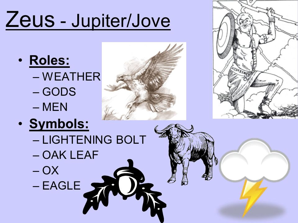 Zeus - Jupiter/Jove Roles: Symbols: WEATHER GODS MEN LIGHTENING BOLT