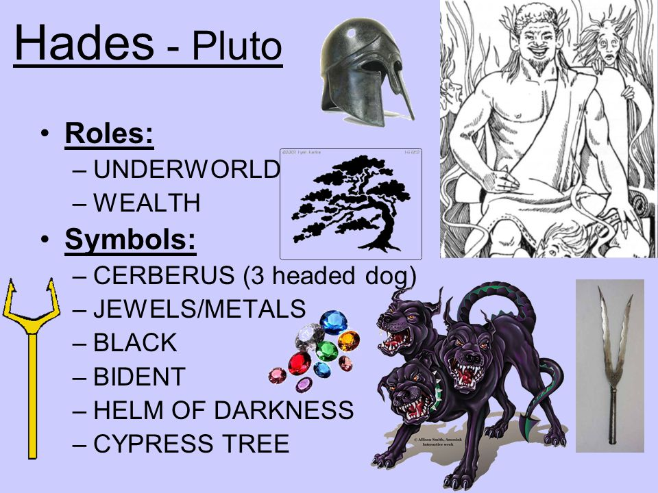 Hades - Pluto Roles: Symbols: UNDERWORLD WEALTH
