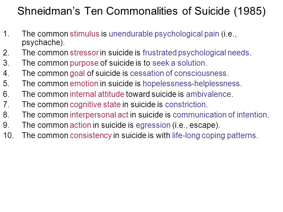 Shneidman's Ten Commonalities of Suicide (1985)