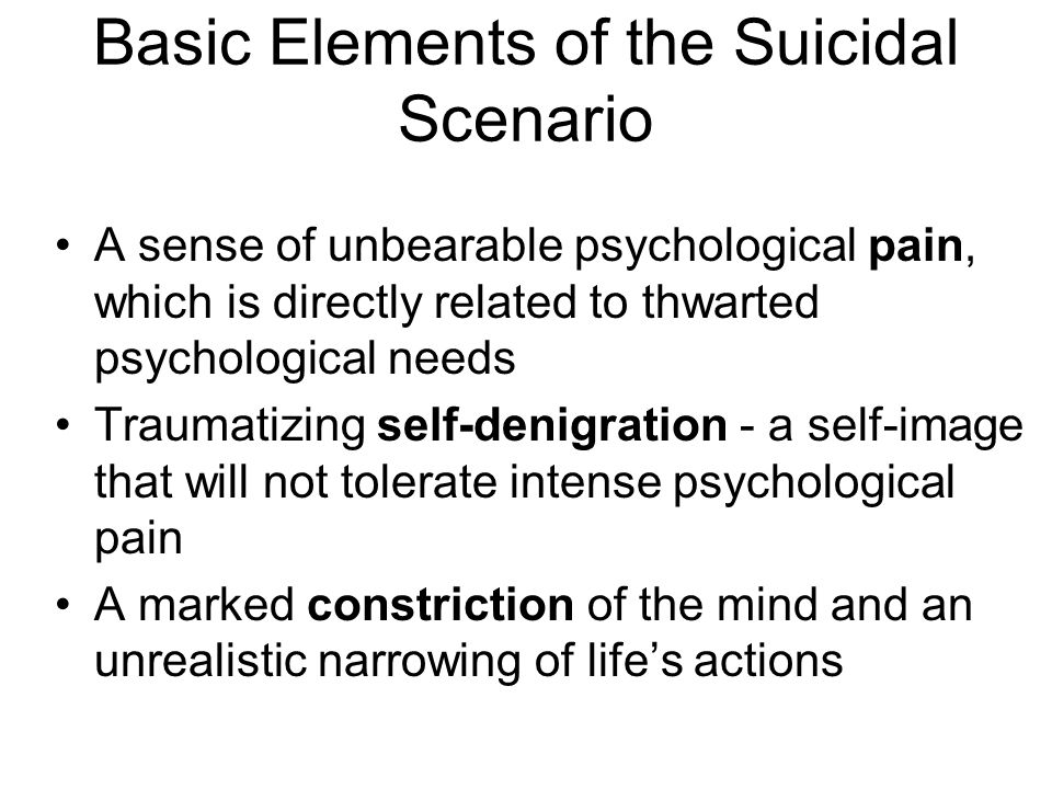 Basic Elements of the Suicidal Scenario