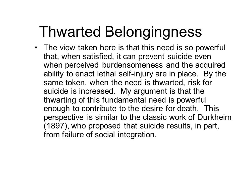 Thwarted Belongingness