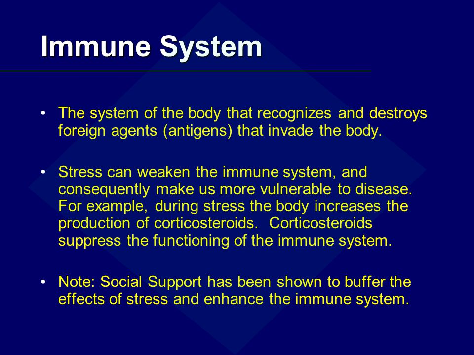 Immune System The system of the body that recognizes and destroys foreign agents (antigens) that invade the body.