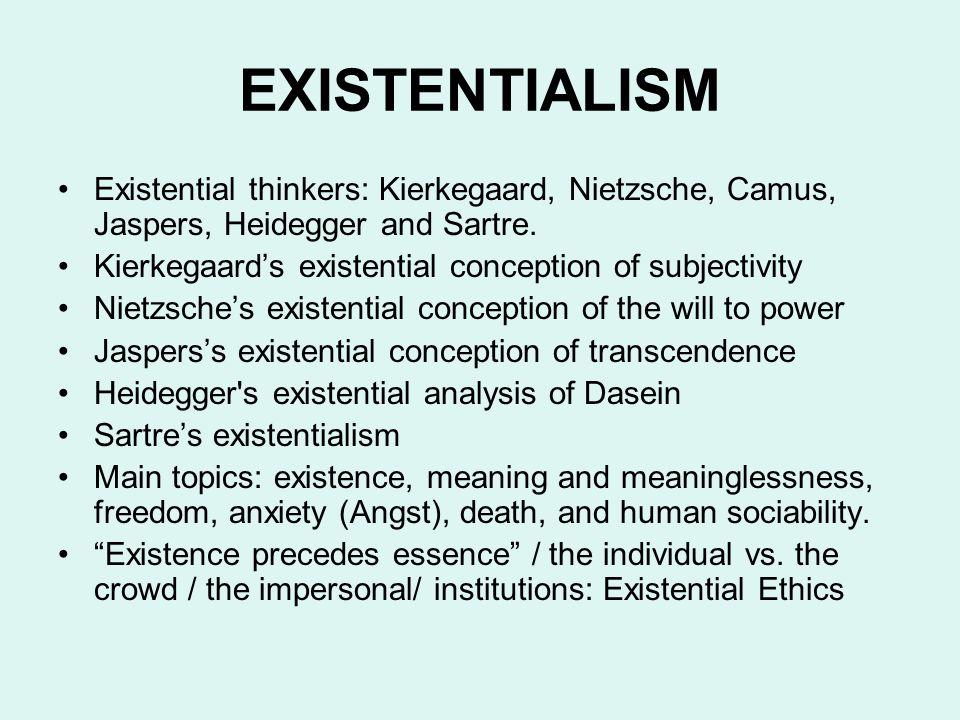 EXISTENTIALISM Existential thinkers: Kierkegaard, Nietzsche, Camus, Jaspers, Heidegger and Sartre.