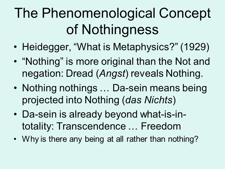 The Phenomenological Concept of Nothingness