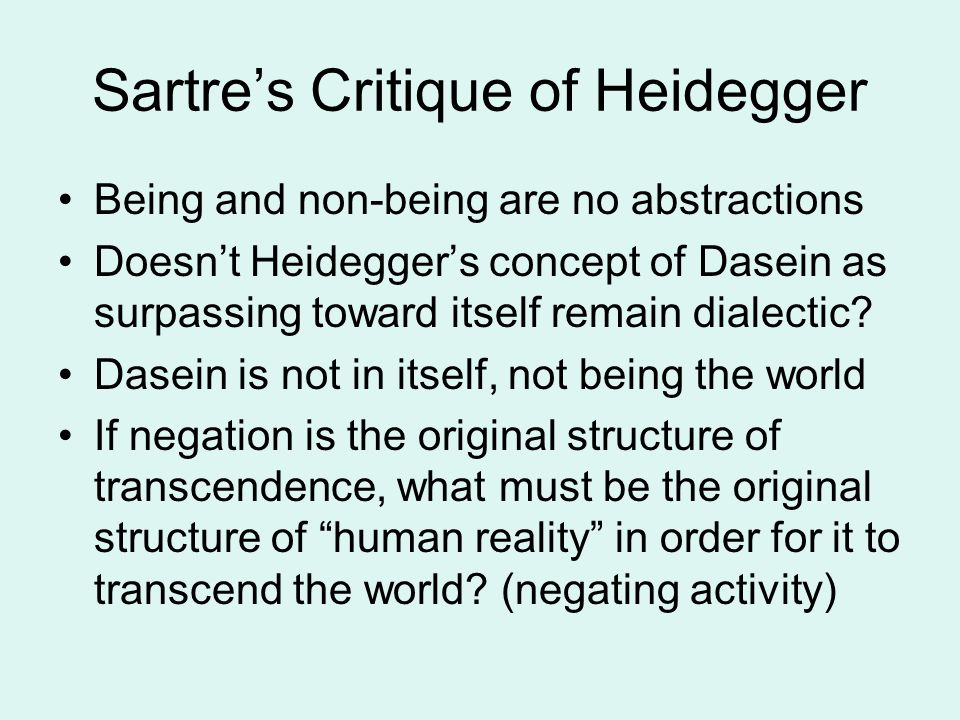 Sartre's Critique of Heidegger